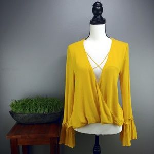 Lulus | Golden Yellow Plunge Top